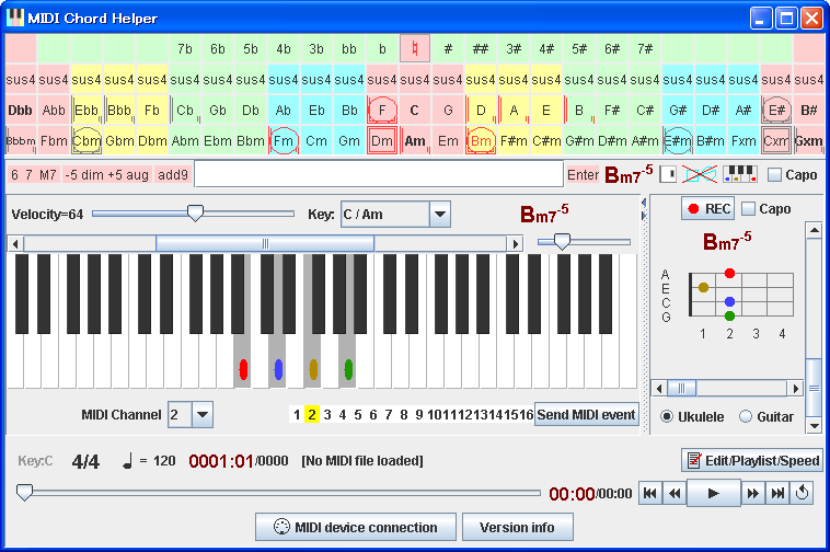 MIDI Chord Helper - Chord-visualizable software MIDI keyboard
